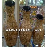 Jual VAS Guci Keramik RETAK COKLAT WK66