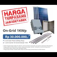 PAKET ON-GRID 1KW (Solar Panel dan Grid-Tied Inverter Komplit Terpasang)