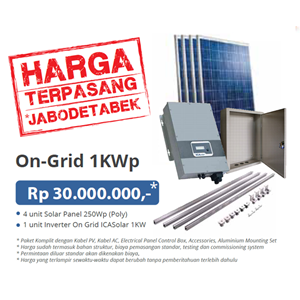 PAKET ON-GRID 1KW (Solar Panel dan Grid-Tied Inverter Komplit Terpasang)