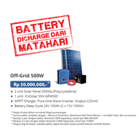 PAKET OFF-GRID 500W (Panel Tenaga Surya dan SMART Inverter Komplit)