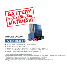 PAKET OFF-GRID 2000W (Panel Tenaga Surya dan SMART Inverter Komplit)