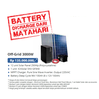 PAKET OFF-GRID 3000W (Panel Tenaga Surya dan SMART Inverter Komplit)