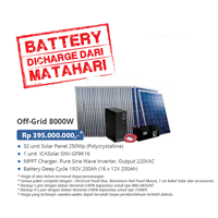 PAKET OFF-GRID 8000W (Panel Tenaga Surya dan SMART Inverter Komplit)