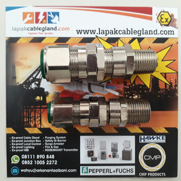 Exd Flameproof Cable Gland CMP model: 20s E1FW M20 SWA Armour Brass Nickel Plated c/w locknut washer & shroud