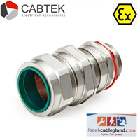 Exd Flameproof Cable Gland CABTEK for SWA Armour Brass Nickel Plated Type: 20s E1FW size M20 c/w locknut washer & locknut