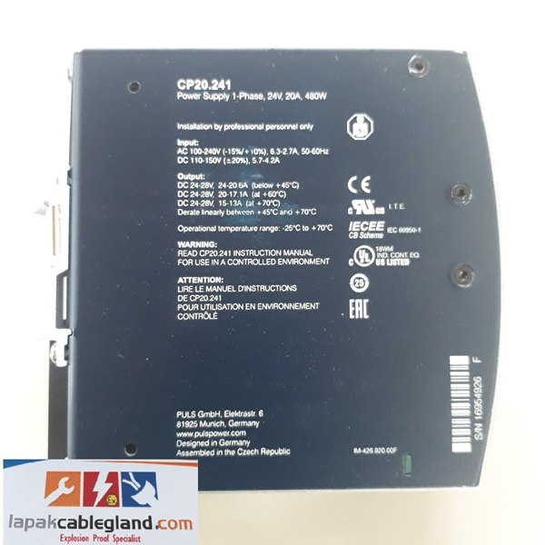 DIN Rail Power Supply Industri PULS DIMENSION 24V 20A CP20.241 efisiensi lebih tinggi dari phoenix contact