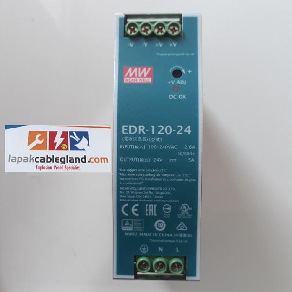 Din Rail Power Supply Industri MEANWELL 24Vdc 5A 120W Model : EDR-120-24 omron phoenix quint