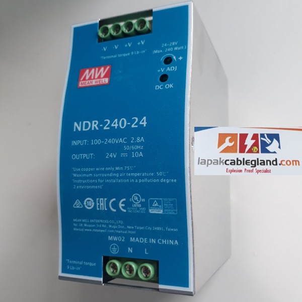 DIN Rail Power Supply Industri MEANWELL 10A 24Vdc 240W NDR-240-24