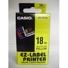Tinta Printer Casio 18mm XR-18YW1 Black Ink on Yellow