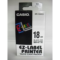 Jual TAPE Casio 18mm XR-18WE1 Black Ink on White Tape