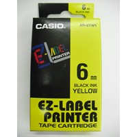 Pita Coding Casio 6mm XR-6YW1 Black Ink on Yellow