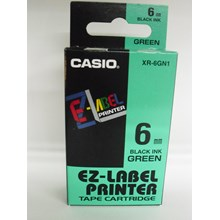 Tinta Printer Casio 6mm XR-6GN1 Black Ink on Green
