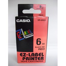 Casio 6mm XR-6RD1 Black Ink on Red