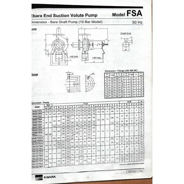 Pompa Ebara 50 x 40 FSHA