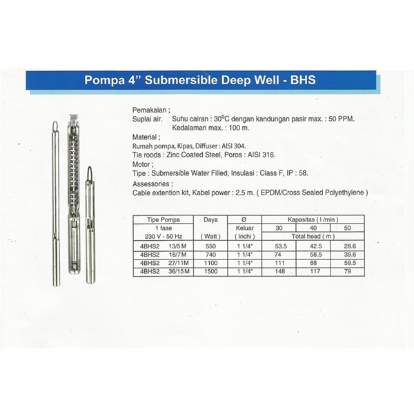 """Pompa 4"""" Submersible Deep Well"""