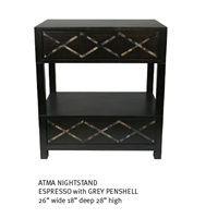 Sell ATMA NIGHTSTAND ESPRESSO With GREY PENSHELL