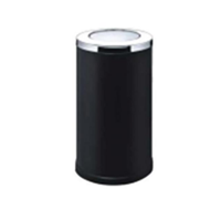 ASH Bin Round Stainless Steel Mat Flip Top Cover -Black