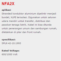 Jual XLPE Insulated Kabel NFA2X 2