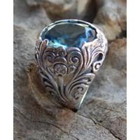 Cincin Perak Motif Kembang Batu Blue Topaz