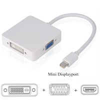 Jual MINI DISPLAY PORT TO VGA DVI HDMI 3IN1 CONVERTER