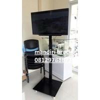 Bracket tv standing 1 tiang plat kotak tipe BS-04 bonus kabel data hp to  tv
