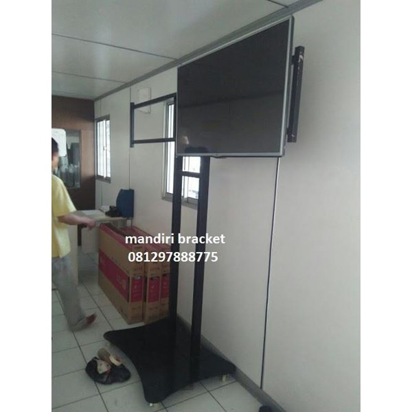 bracket tv braket led standing plat kupu kupu dua tv