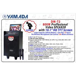 Dari Speaker portable Yamada DM-T2 Video Karaoke 10 inci HD TV Screen AUX MP3 MP4 Gratis Wireless Mic 1