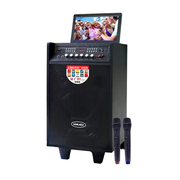 Speaker portable Yamada DM-T2 Video Karaoke 10 inci HD TV Screen AUX MP3 MP4 Gratis Wireless Mic