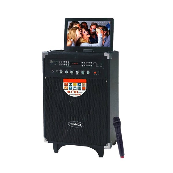 Speaker PortableYAMADA DM T5 600W Audio Video Speaker 10.1 HD TFT Screen Karaoke Mic