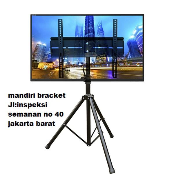 bracket tv tripod murah kuat dan kekar tiang turun naik ukuran 50inch