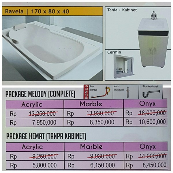 Bathtub long RAVELA (paket hemat)