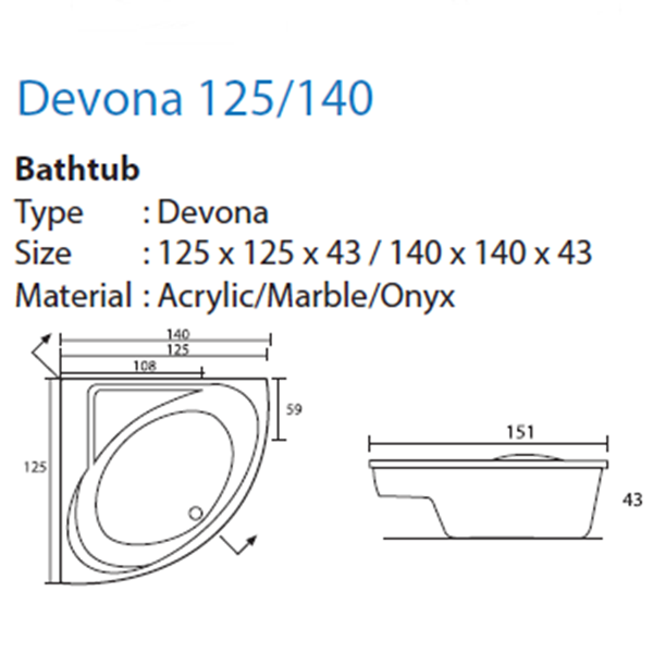Bathtub Corner DEVONA 125