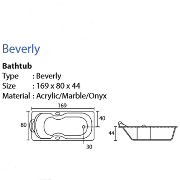 Bathtub long BEVERLY (paket murah)