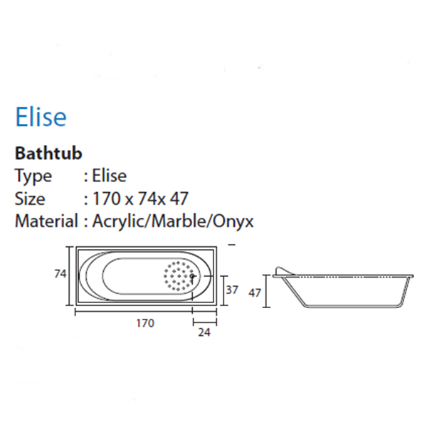 Bathtub long ELISE (paket murah)