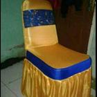 Sarung Kursi  warna Gold Lis Biru 1
