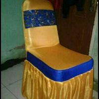 Sarung Kursi  warna Gold Lis Biru
