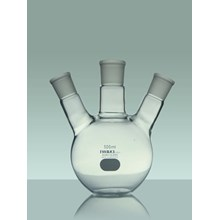 IWAKI Boiling Flask Flat Bottom With TS Joint 3 Neck