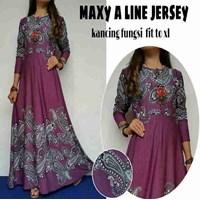 Jual Baju Muslim Maxy A Line Jersey Kancing Fungsi Fit to XL