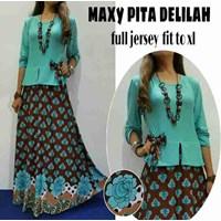 Jual Baju Muslim MAxy Pita Delilah Full Jersey Fit To XL
