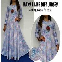 Jual Baju Muslim Maxy A Line Soft Jersey Sleting dada Fit To XL