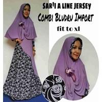 Jual Baju Muslim Sar'i A Line Jersey Combi Bludru Import Fit To XL