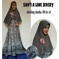 Jual Baju Muslim Sar'i A Line Jersey Sleting dada fit to XL