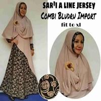 Jual Baju Muslim Sar'i A Lne Jersey Combi Bludru Import Fit To XL