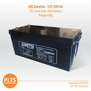 Zanetta Baterai Kering VRLA 200Ah Aki Solarcell