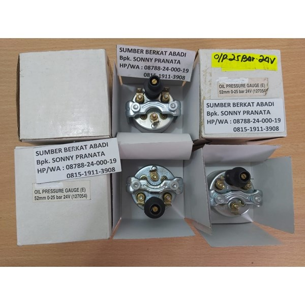 VEETHREE OIL PRESSURE GAUGE INDICATOR 0-400 PSI (0-25 BAR) 24VDC 52MM