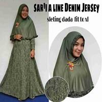 Jual Baju Muslim Sar'i A Line Denim Jersey Sleting dada fit to XL