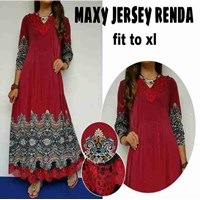 Baju Muslim maxy Jersey Renda Fit to XL