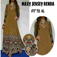 Baju Muslim maxy Jersey Renda Fit to XL warna Coklat