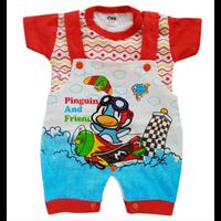 BBS519-Baju Bayi Kodok Lengan Pendek Pinguin And Friend Merah
