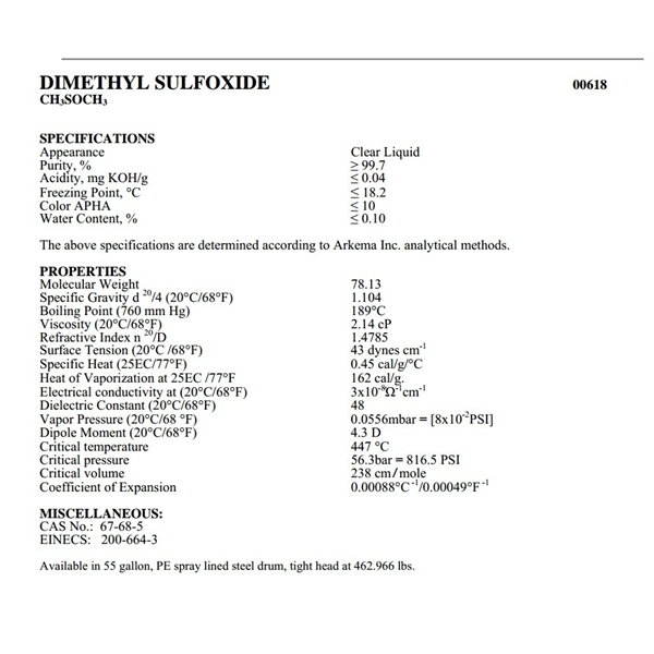 Bahan kimia industri dmso / dimethylsulfoxide